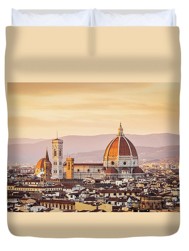 Campanile Duvet Cover featuring the photograph Florences Cathedral And Skyline At by Filippobacci