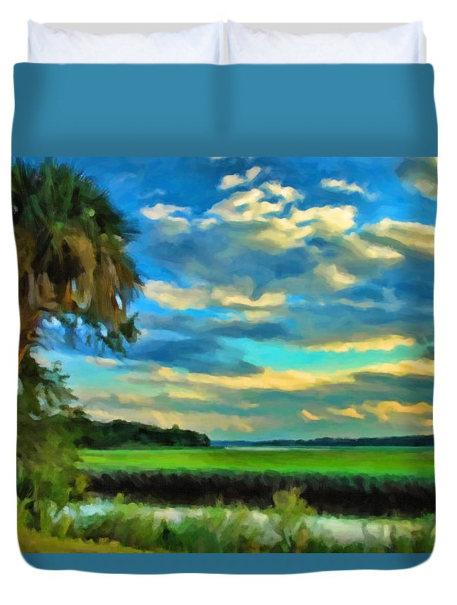 Kenny Francis Duvet Cover featuring the photograph Florida Landscape With Palms by Kenny Francis