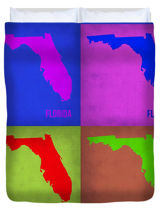 Florida Map Duvet Cover featuring the painting Florida Pop Art Map 1 by Naxart Studio