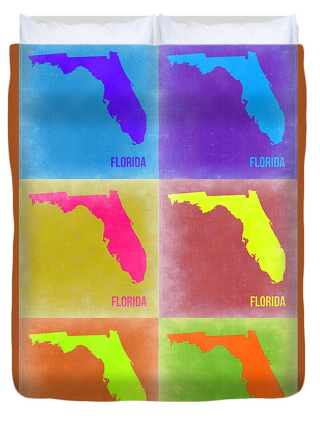 Florida Map Duvet Cover featuring the painting Florida Pop Art Map 2 by Naxart Studio