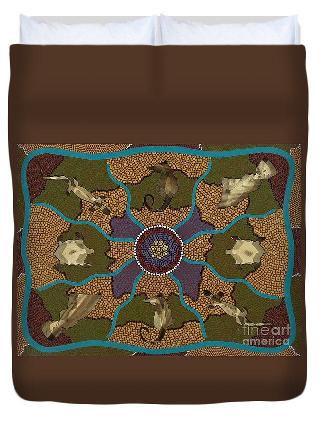 Aboriginal Duvet Cover featuring the painting Flow Of Life by Clifford Madsen