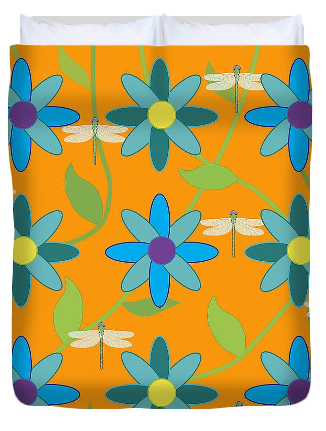 Flowers Duvet Cover featuring the digital art Flower And Dragonfly Design With Orange Background by Belinda Greb