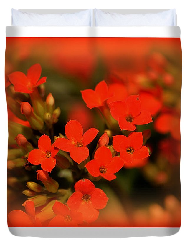 Flower Duvet Cover featuring the photograph Flower And Time Quote by Susanne Van Hulst