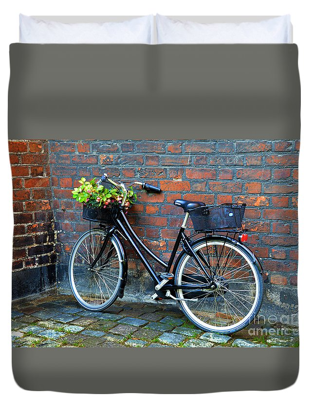Bicycle Duvet Cover featuring the photograph Flower Basket Bicycle by Catherine Sherman