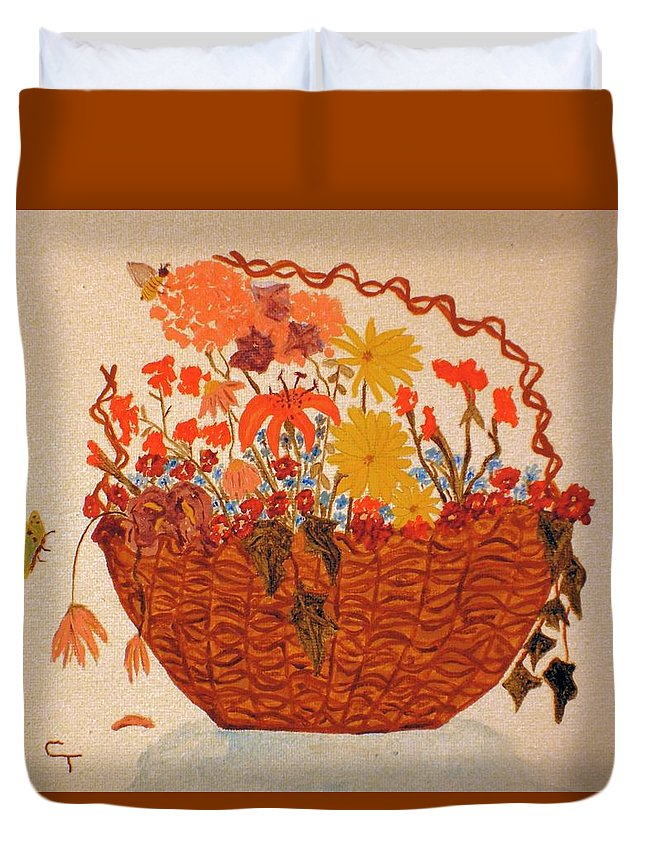 Claudia Thomas Duvet Cover featuring the painting Flower Basket by Claudia Thomas