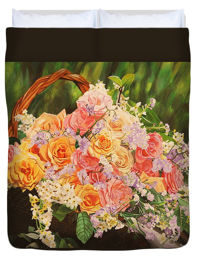 Flower Duvet Cover featuring the painting Flower Basket by Michelle Miron-Rebbe