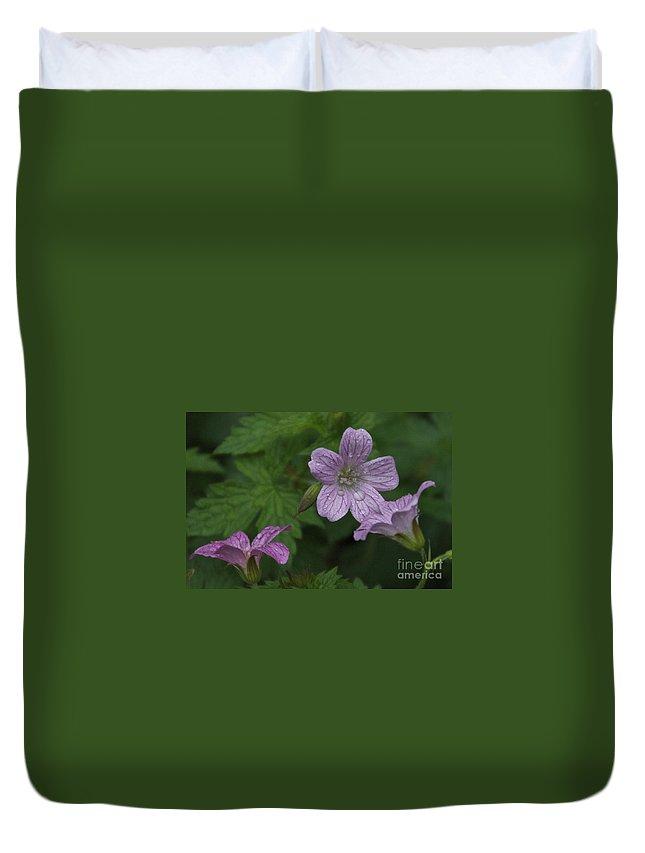 Purple Duvet Cover featuring the photograph Flower Bath by William Norton