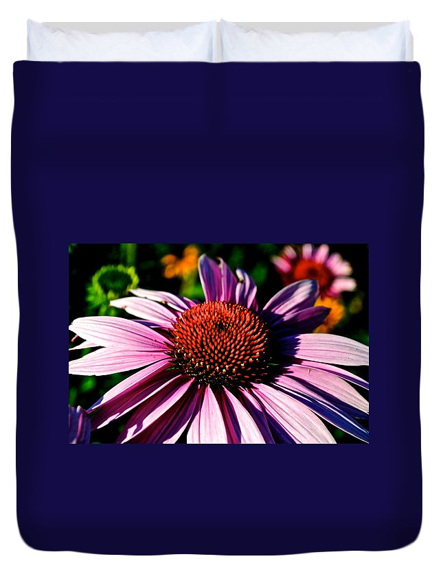 Flower Duvet Cover featuring the photograph Flower Bed Close Up by Frozen in Time Fine Art Photography