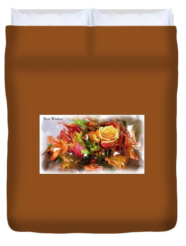 Flower Bouquet Greetings Duvet Cover featuring the painting Flower Bouquet Greetings by Usha Shantharam
