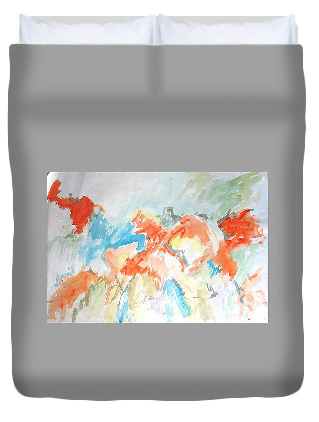 Flower Burstsת Acrylic Duvet Cover featuring the painting Flower Bursts by Esther Newman-Cohen