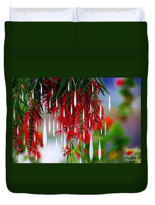 Augusta Stylianou Duvet Cover featuring the photograph Flower Chandelier by Augusta Stylianou