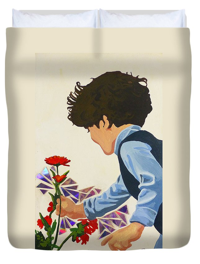 Hanzer Art Duvet Cover featuring the painting Flower Child by Jack Hanzer Susco