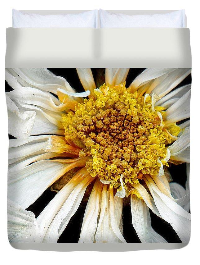 Flower Duvet Cover featuring the photograph Flower - Daisy - Drunken Sun by Mike Savad