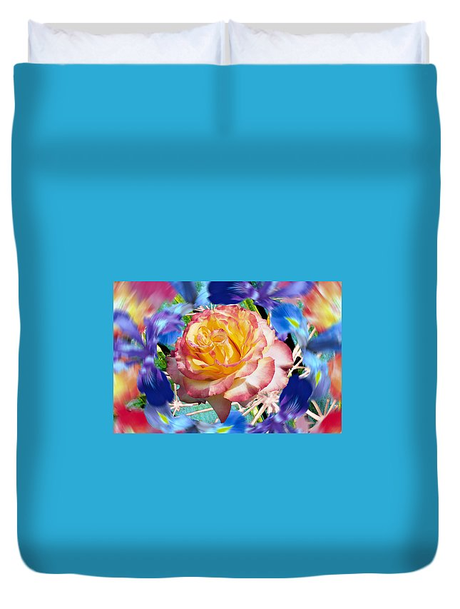 Flowers Duvet Cover featuring the digital art Flower Dance 2 by Lisa Yount