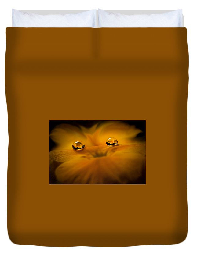 Droplets Duvet Cover featuring the photograph Flower Fairy by Ivelina G