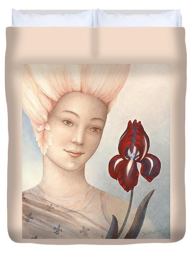 Flower Fairy Duvet Cover featuring the painting Flower Fairy by Judith Grzimek