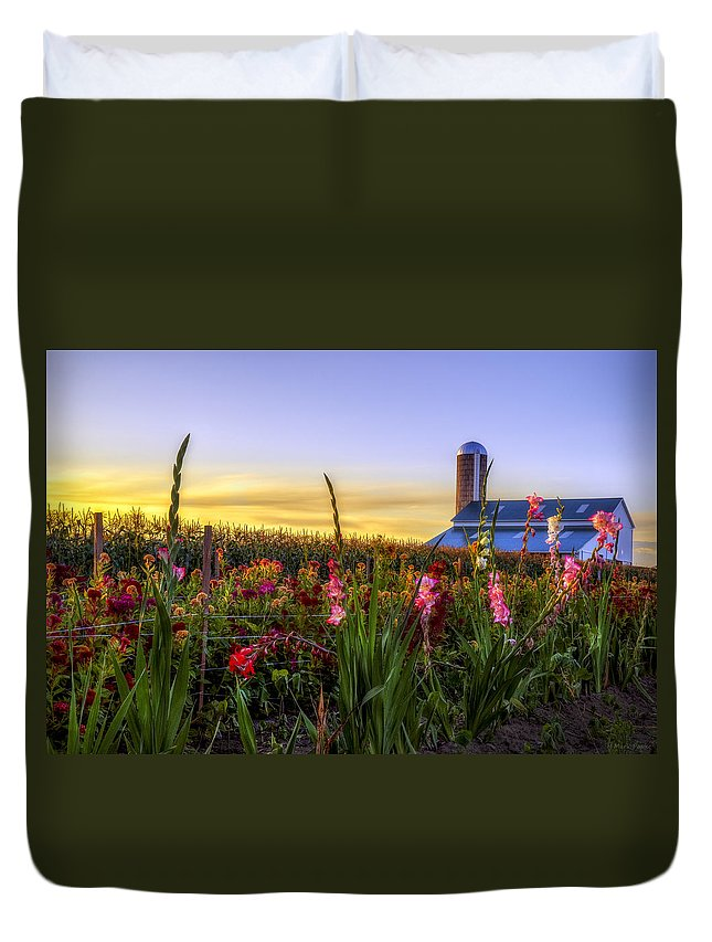 Mark Papke Duvet Cover featuring the photograph Flower Farm by Mark Papke