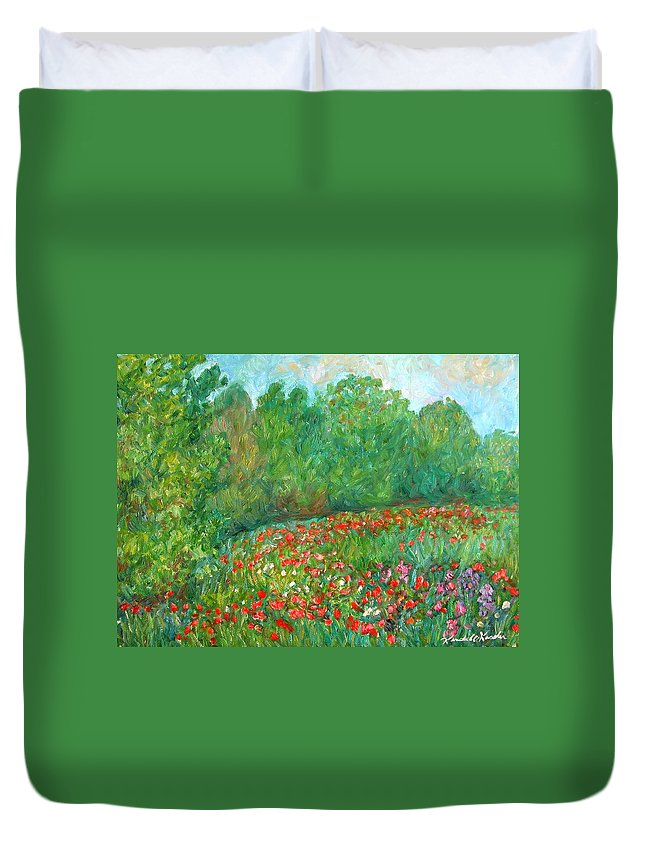 Blue Ridge Paintings Duvet Cover featuring the painting Flower Field by Kendall Kessler