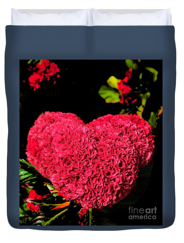 Flower Duvet Cover featuring the photograph Flower For The Heart by Roger Becker