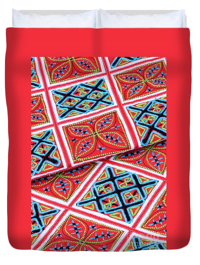 Vietnam Duvet Cover featuring the photograph Flower Hmong Embroidery 02 by Rick Piper Photography