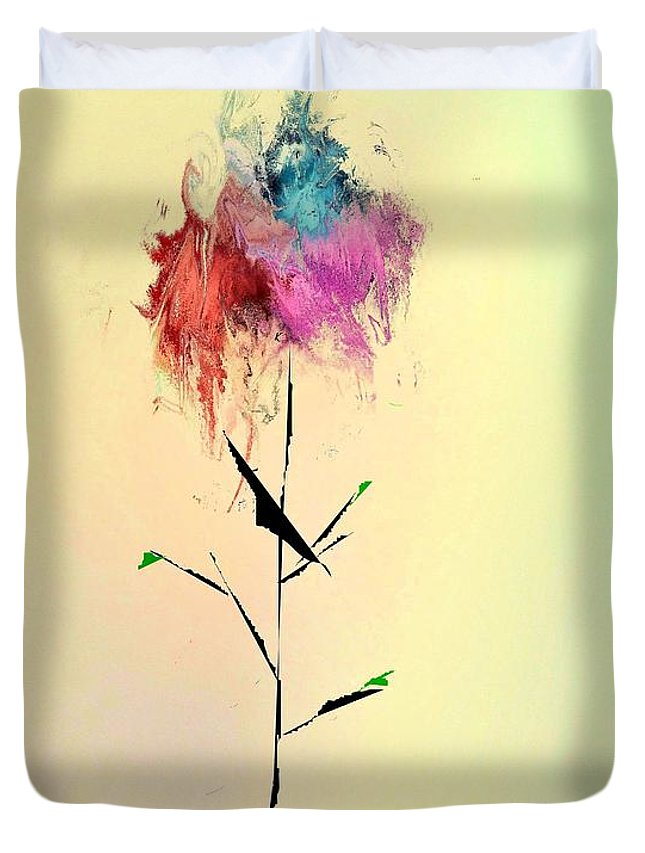 Abstract Duvet Cover featuring the digital art Flower by John Krakora