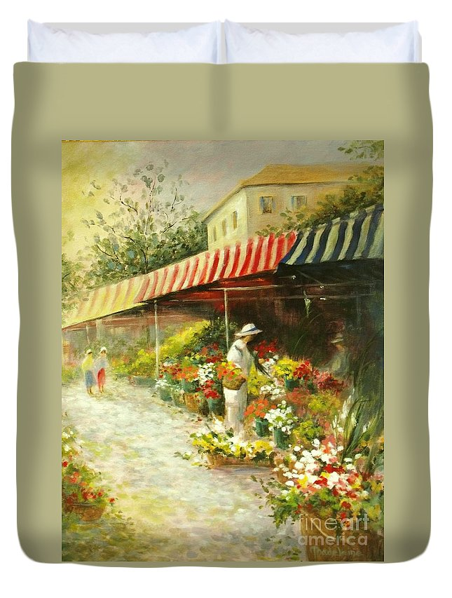 Canvas Prints Duvet Cover featuring the painting Flower Market by Madeleine Holzberg