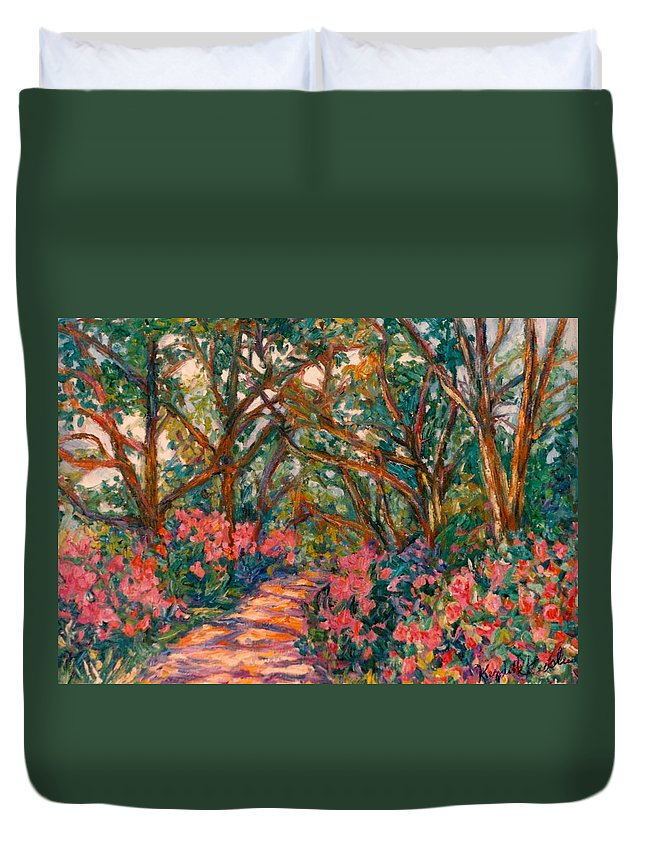 Flowers Duvet Cover featuring the painting Flower Path by Kendall Kessler