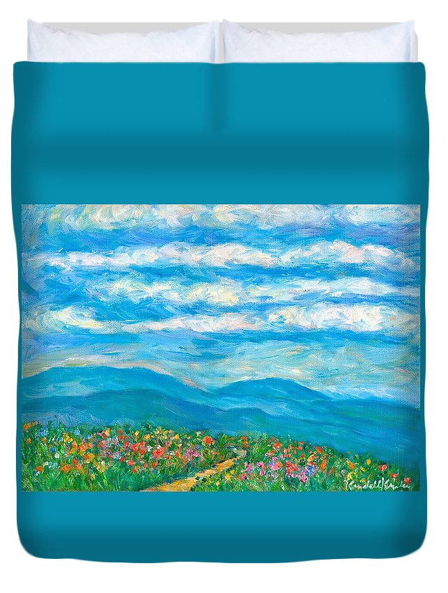 Blue Ridge Paintings Duvet Cover featuring the painting Flower Path To The Blue Ridge by Kendall Kessler