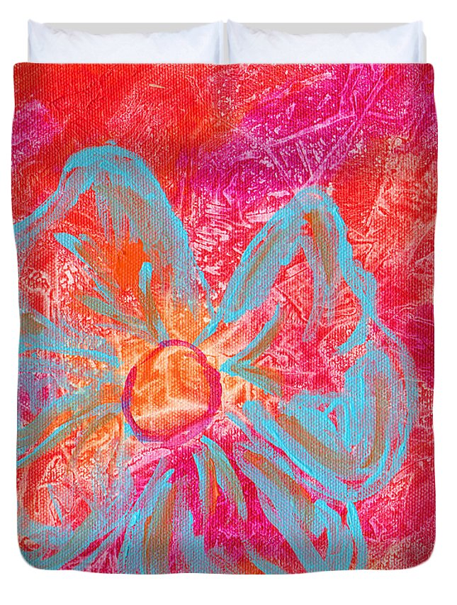 Orange Duvet Cover featuring the painting Flower Power by Paulette B Wright
