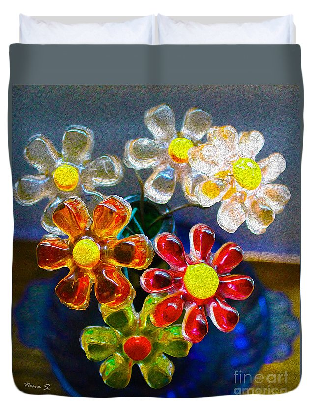 1960's Duvet Cover featuring the photograph Flower Power Still Life by Nina Silver