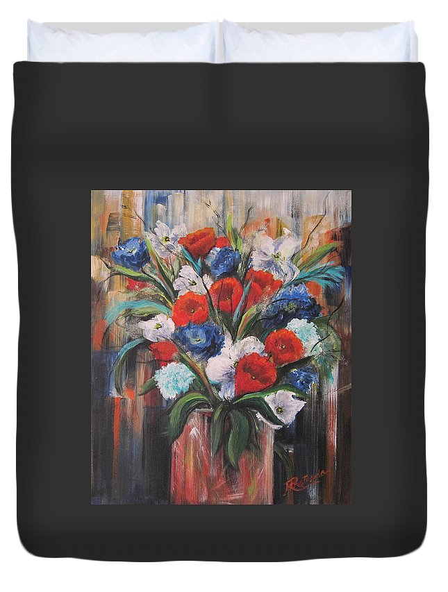 Floral Duvet Cover featuring the painting Flower Pride by Roberta Rotunda