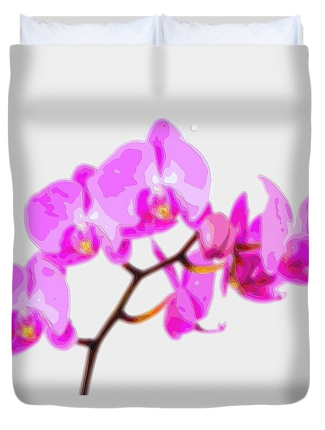 Flower-art Duvet Cover featuring the digital art Flower Purple Orchid by Mary Clanahan