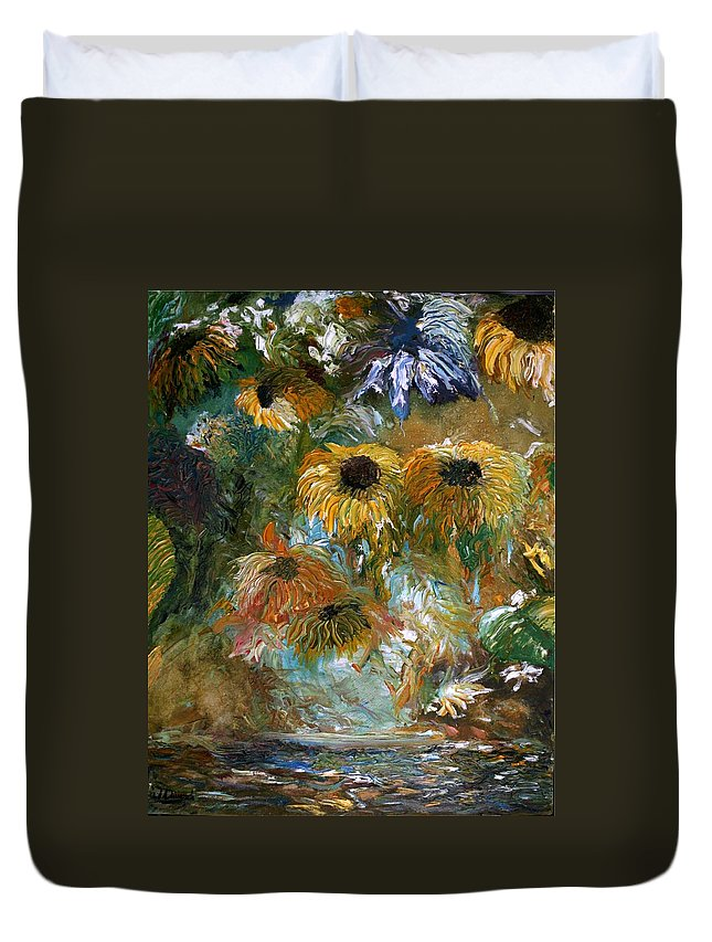 Flowers Duvet Cover featuring the painting Flower Rain by Jack Diamond
