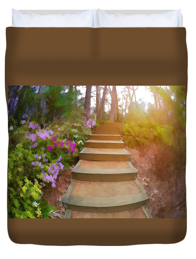 Flowers Duvet Cover featuring the photograph Flower Steps by Tina Baxter