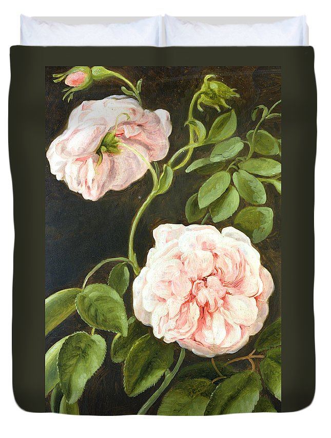 Still-life Duvet Cover featuring the painting Flower Study by Johann Friedrich August Tischbein