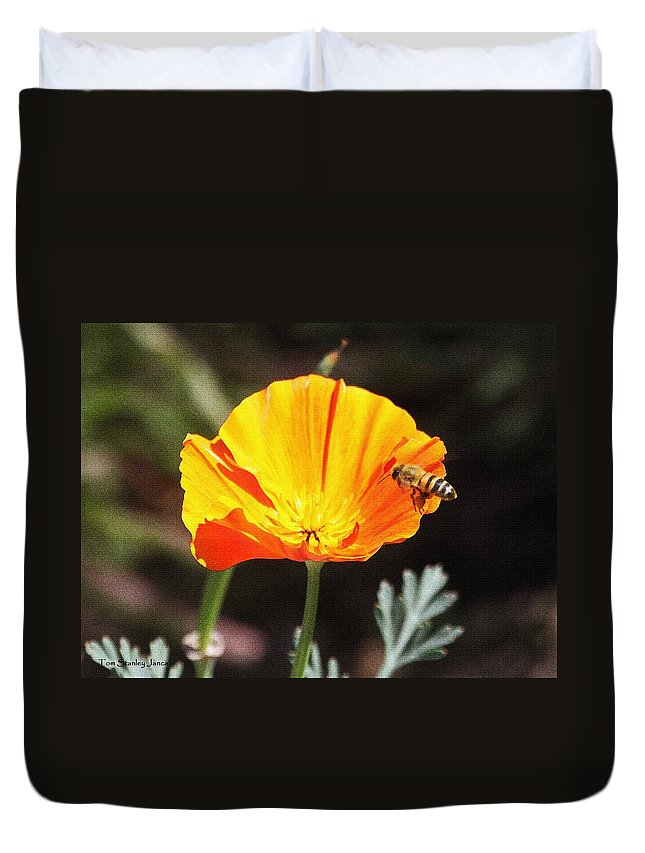 Flower With Honey Bee Duvet Cover featuring the photograph Flower With Honey Bee by Tom Janca