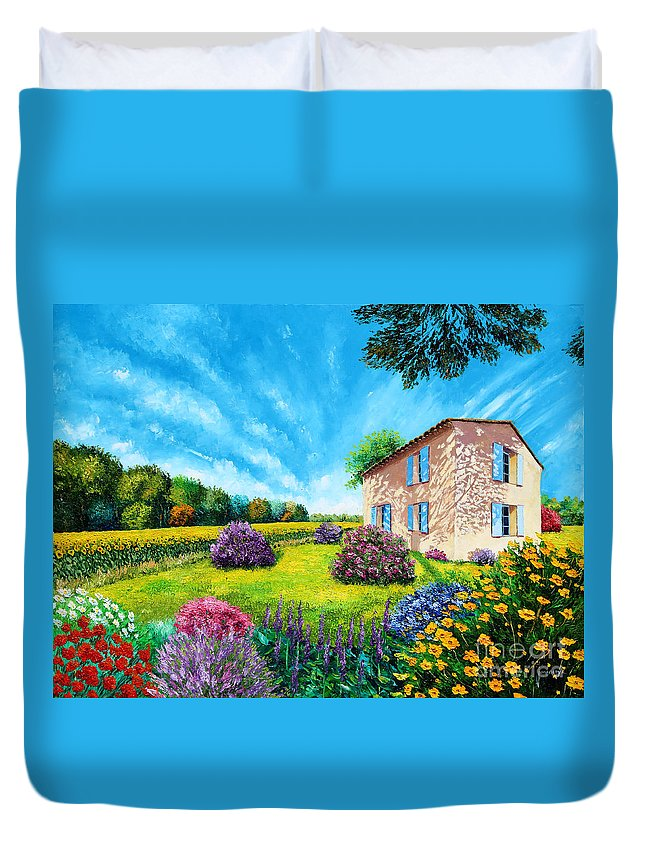 House Duvet Cover featuring the digital art Flowered Garden by MGL Meiklejohn Graphics Licensing