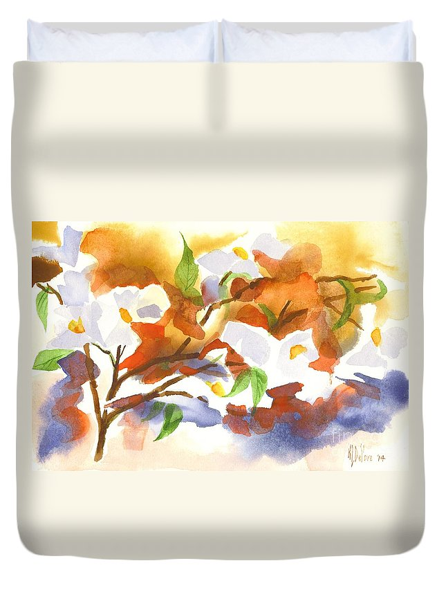 Flowering Dogwood Iii Duvet Cover featuring the painting Flowering Dogwood IIi by Kip DeVore