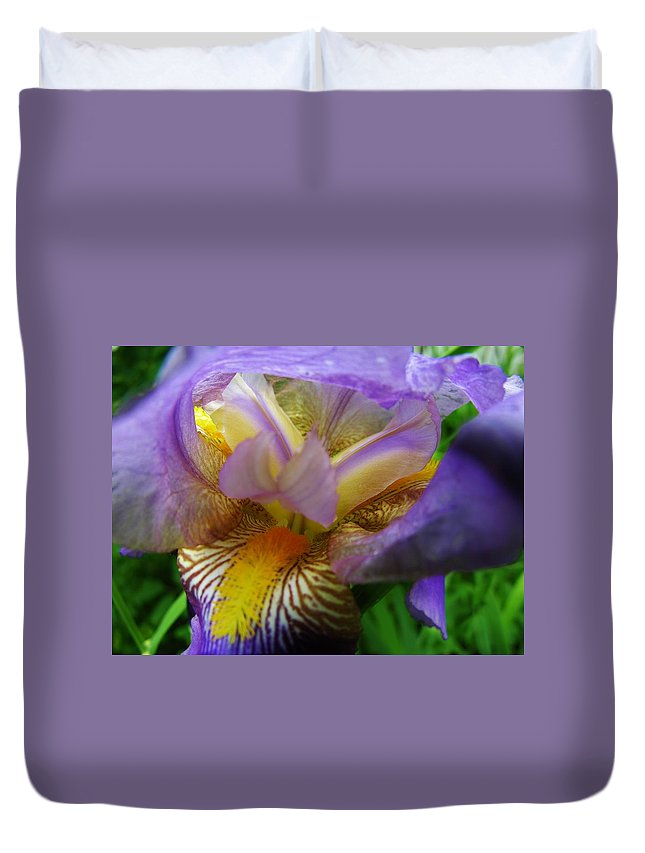 Iris Duvet Cover featuring the photograph Flowering Iris by Sherman Perry