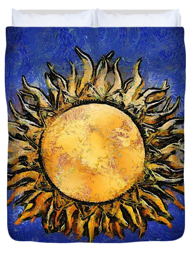 Sun Duvet Cover featuring the painting Flowering Sun by RC DeWinter