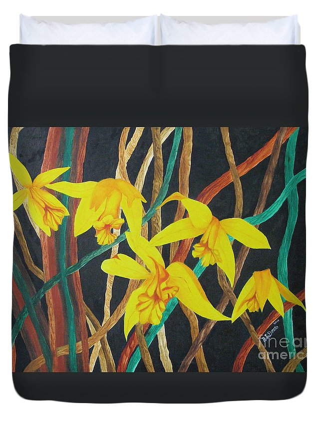 Orchids Duvet Cover featuring the painting Flowers A Flame by Richard Dotson