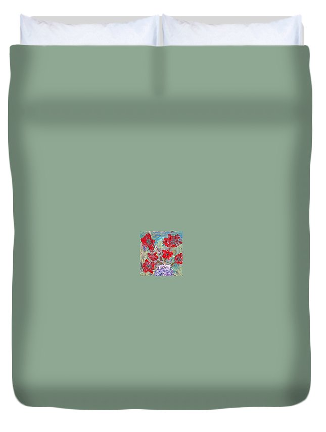 Acrylic On Canvas Duvet Cover featuring the painting Flowers by Aat Kuijpers