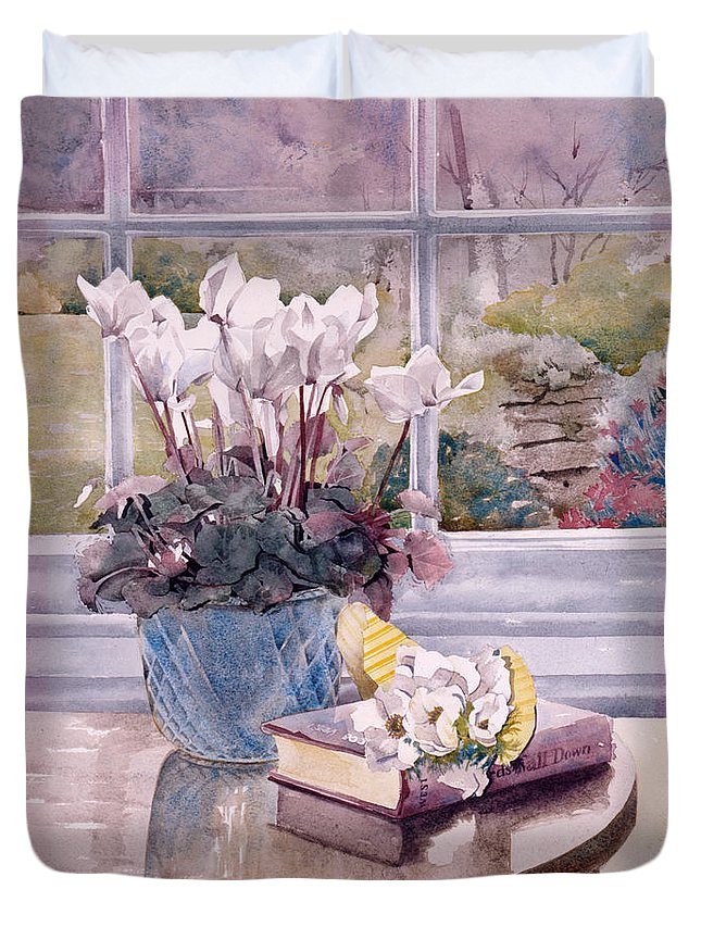 Book Duvet Cover featuring the photograph Flowers And Book On Table by Julia Rowntree