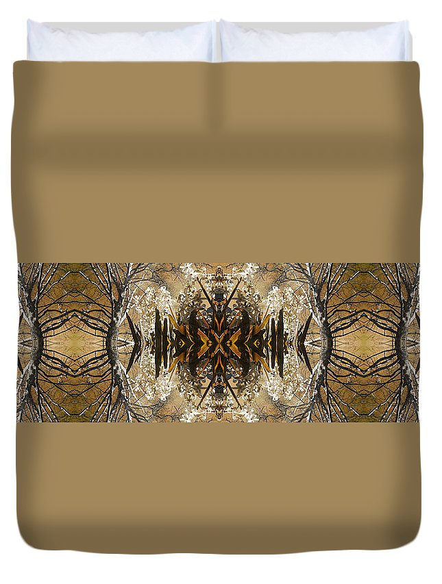 Flower Duvet Cover featuring the digital art Flowers And Trees by Betsy Knapp