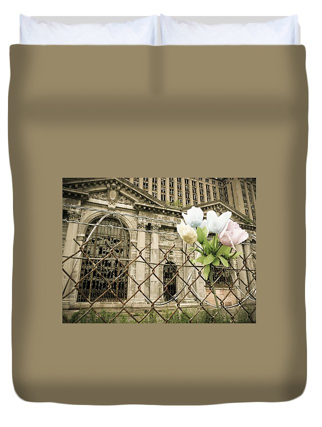 Michigan Central Station Duvet Cover featuring the photograph Flowers For Detroit by Priya Ghose