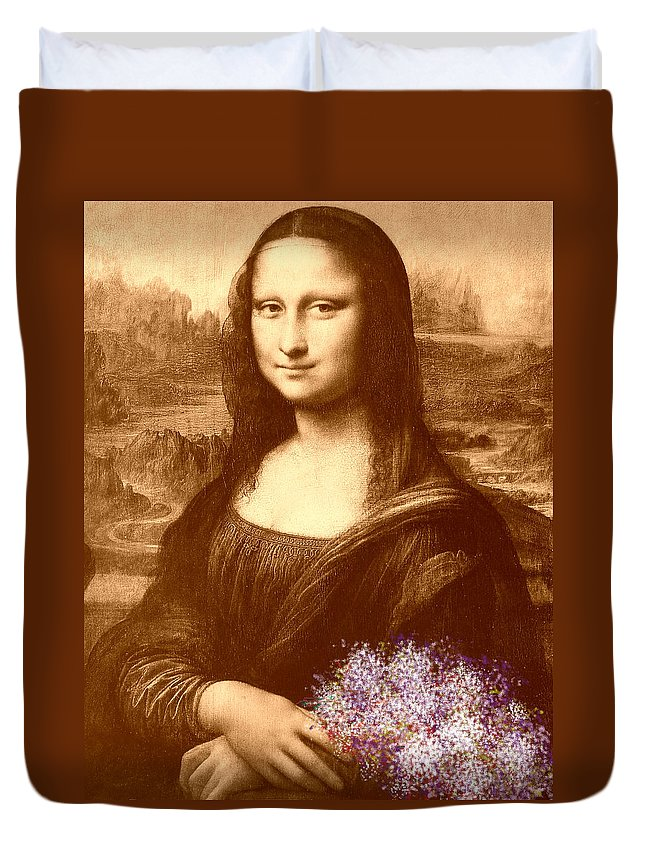 Mona Lisa Duvet Cover featuring the painting Flowers For Mona Lisa by Georgeta Blanaru