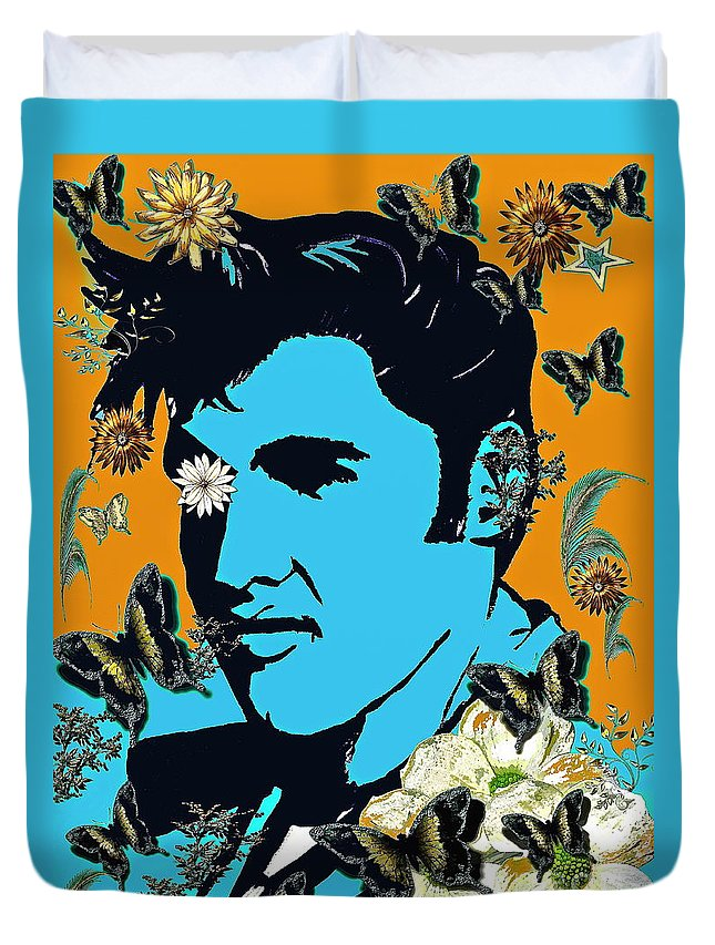 Flowers For The King Duvet Cover featuring the painting Flowers For The King Of Rock And Roll by Saundra Myles
