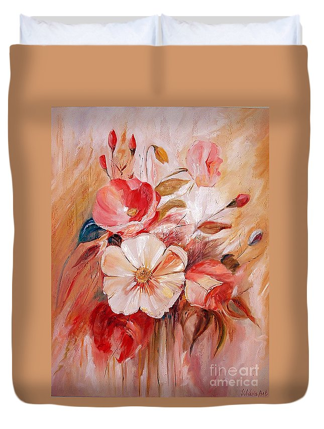 Modern Art Duvet Cover featuring the painting Flowers I by Silvana Abel