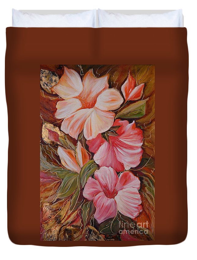 Modern Art Duvet Cover featuring the painting Flowers II by Silvana Abel