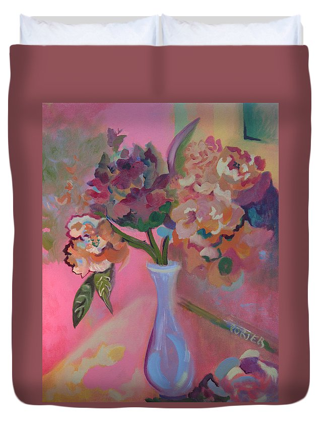 Floral Duvet Cover featuring the painting Flowers In A Lavender Vase by Sally Porter